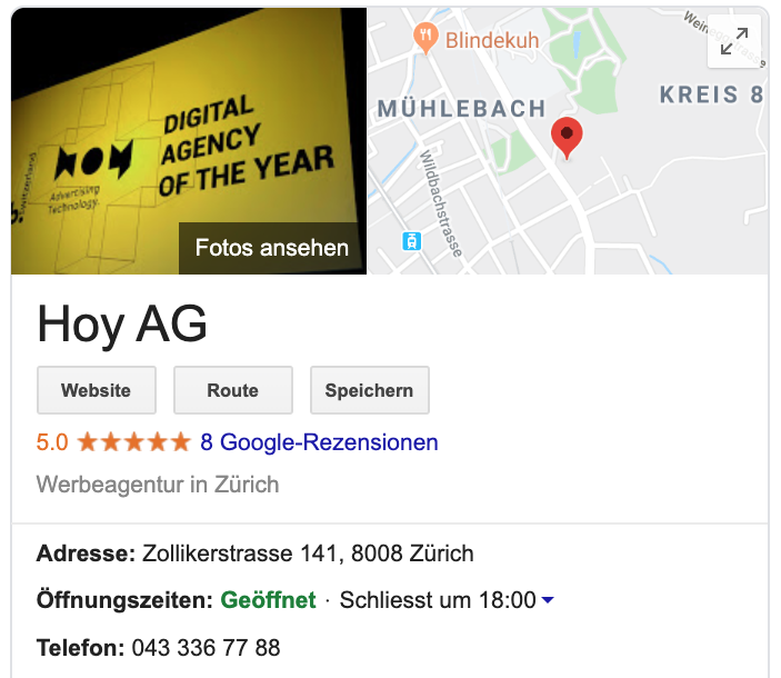 «Google My Business»-Eintrag der Hoy AG, die Basis für Local SEO